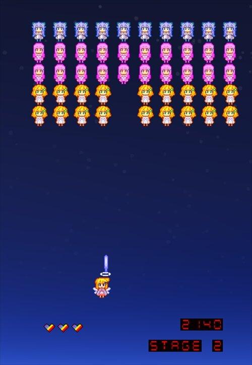 にじよめちゃんのインベーダーゲーム Game Screen Shot1