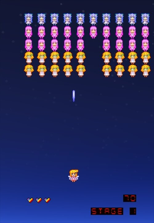 にじよめちゃんのインベーダーゲーム Game Screen Shot2