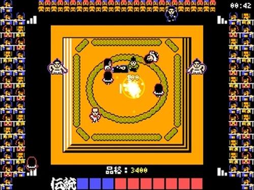 土俵に上がってくる女性に塩を撒いて追い払い国技の伝統を守るゲーム Game Screen Shots